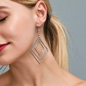 2/$20! Silver Triple Rhombus Drop Earrings